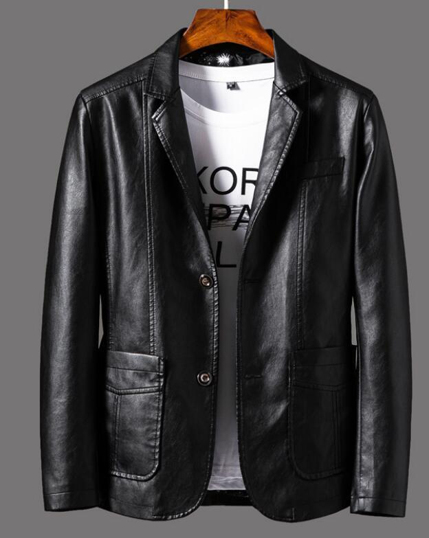 2020 di autunno della molla nuovi giacca di pelle vestito bavero uomini casual giacca di pelle alti giacca cappotto degli uomini monopetto