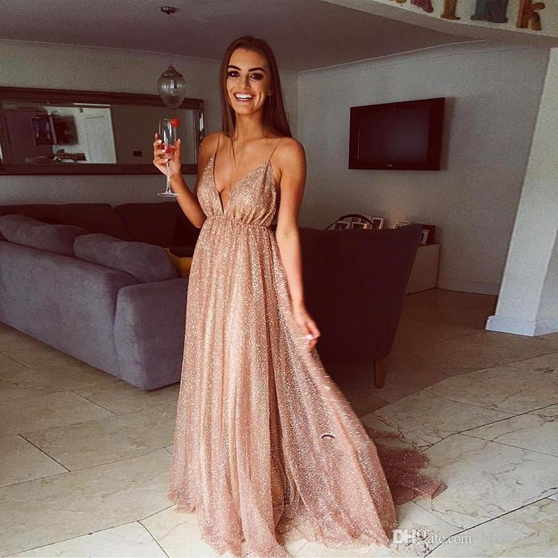 Glamorous V-Neck Spaghetti Strap Backless Evening Dress 2019 Sequins Long Prom Gowns Formal Sweep Train Party Dresses