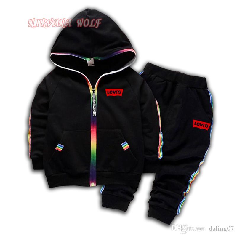 LEVlS Marken-Logo Luxus-Designer-Baby Jungen und Mädchen 1-4T Anzug Marke Tracksuits Kinderkleidung Mode Herbst-Kinder Langarm-Pullover Set