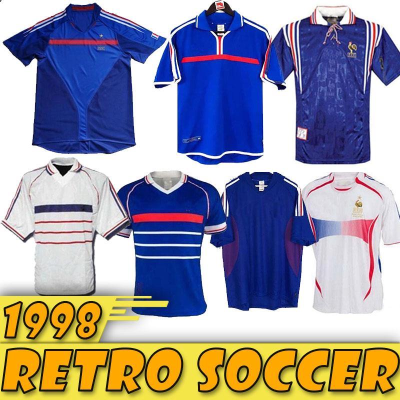 1998 FRANCE RETRO 2002 ZIDANE HENRY MAILLOT DE FOOT maillots de football 1996 2004 chemise Maillots de football Trezeguet loin de finale 2006 blanc 2000