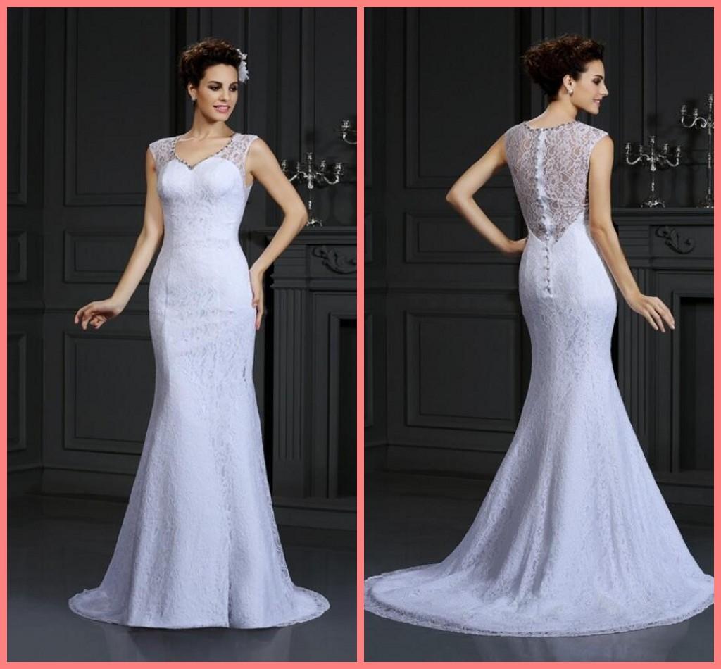 2020 привлекательное белое кружево русалка свадебное платье с бисером V-образным вырезом без рукавов Летний пляж дешевые платья свадебных платьев