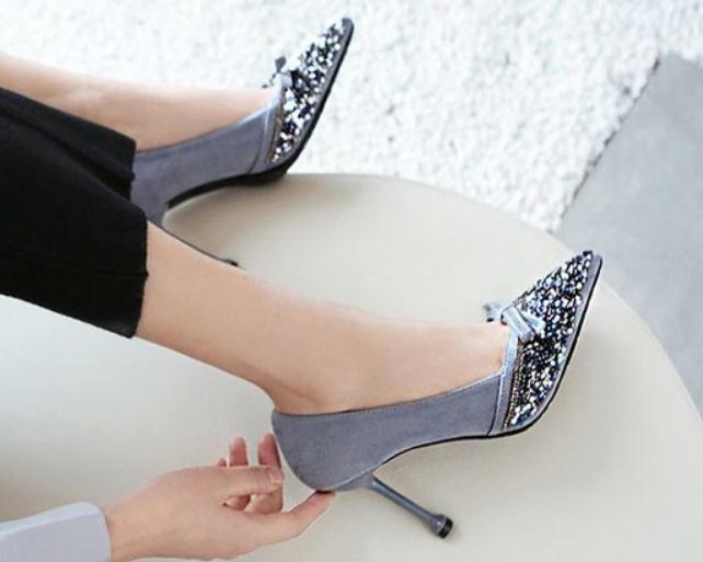 2019 zapatos de las mujeres en primavera y otoño con nuevo estilo del tacón alto talón fino extremo puntiagudo del bowknot del ante los zapatos del talón 6,5 cm, 9 cm @ SSS269