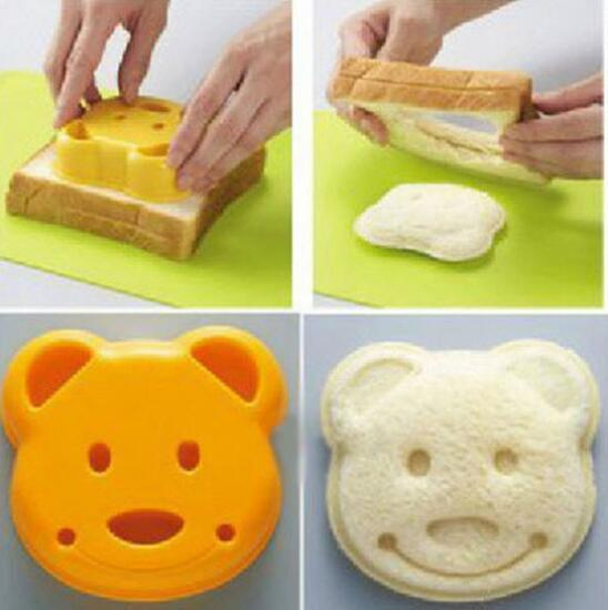 DHL DIY Cartoon Bear Design Sandwich Cutter Bread Biscuits Embossed Device Cake Tools Rice Balls Lunch DIY Mould Tool d1
