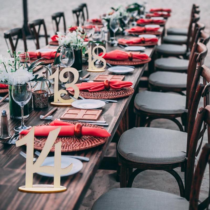 Paquete 10Pcs del estilo caliente Suministros de madera de la boda que casan la tabla del sostenedor Número Figura tarjeta del confeti decoración digital del asiento