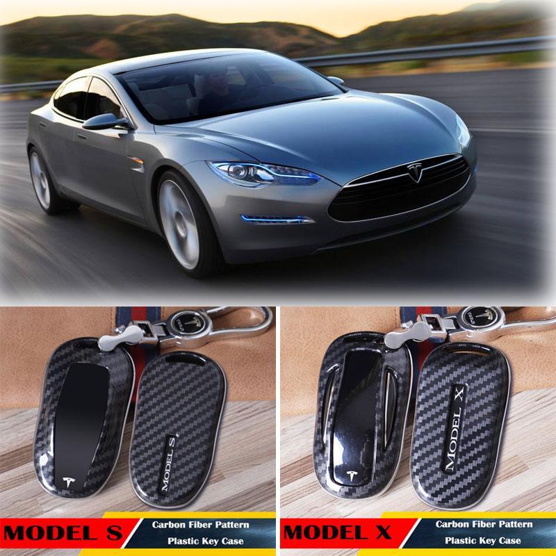 Custodia protettiva in fibra di carbonio chiave Tesla Model X S Car ABS Shell di plastica di copertura portachiavi Keychian Accessori