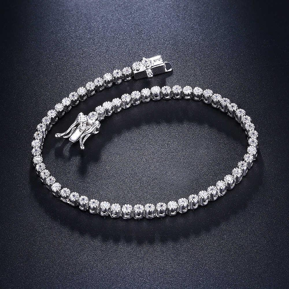 18cm Tennis Bracelets 925 Silver Jewelry 2mm Crystal Round Stones Top Quality Jewellery Luxury Sterling Silver Bracelet & Bangle C19021501