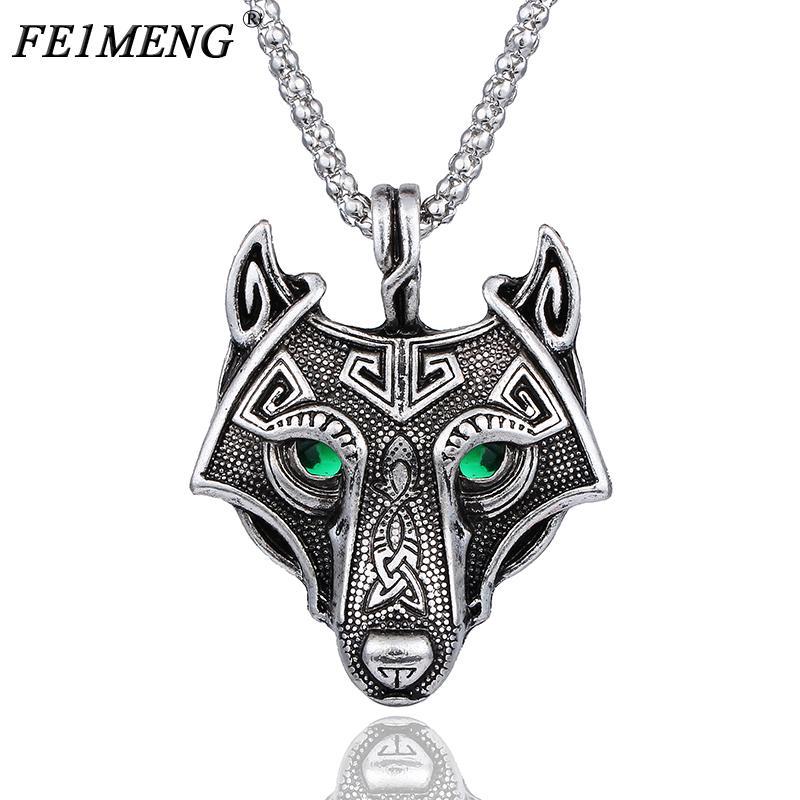 Vintage Norse tête de loup Vikings collier pendentif cristal vert yeux Colliers d'origine animale pour les femmes Bijoux pour hommes Mode