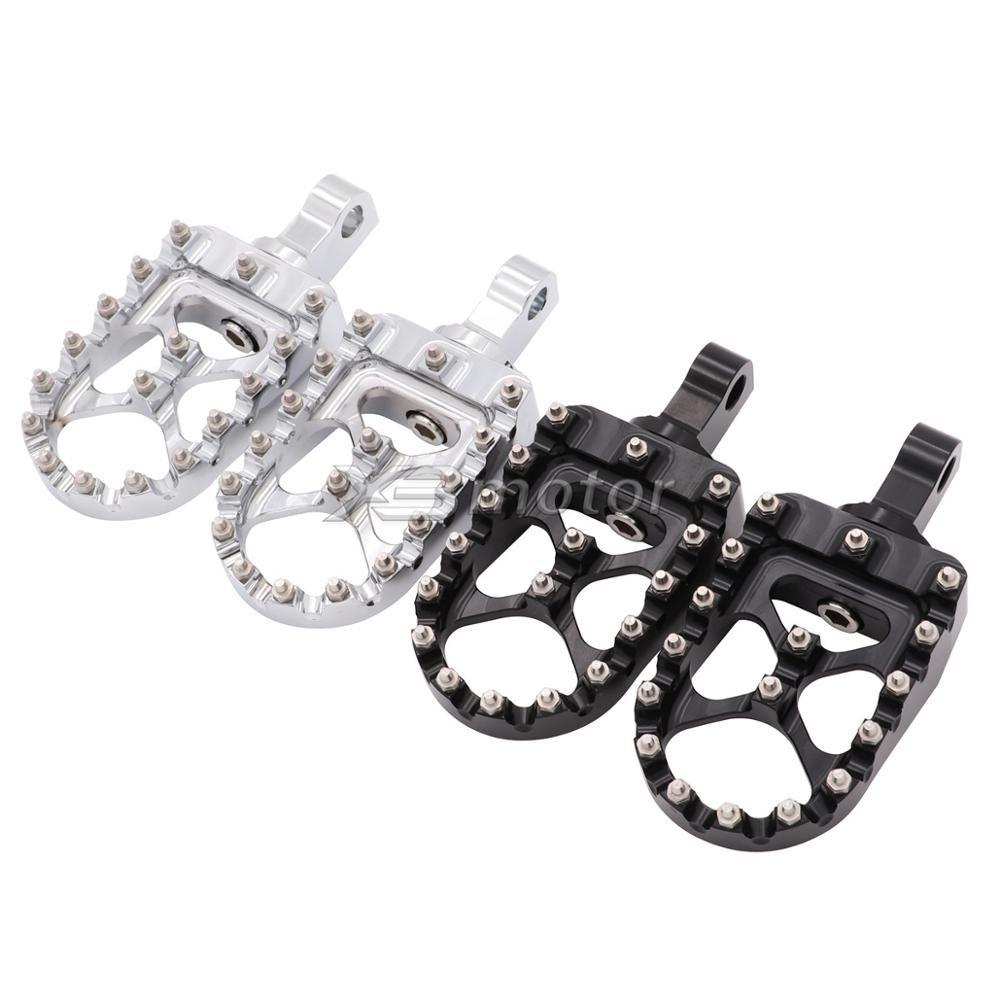 1 Pair Black Aluminum Motorcycle Motocross Wide Fat Foot Pegs Footrest Footpegs