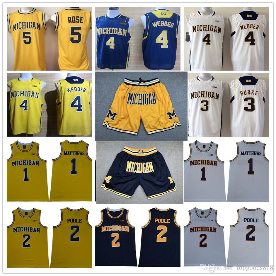 Michigan Wolverines pantalones cortos de baloncesto jerseys Establece Charles Matthews Poole Chirs Webber Trey Burke Jalen Rose Amarillo Azul universitarios Camisas Tops
