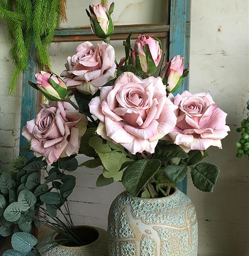NUOVI Belle rose ramo fleur seta fiori artificiali di nozze decorazioni rosa flores artificiales fiori finti