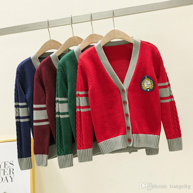 Girls Sweaters Cardigan Pure Cotton Printed Diamond Striped Long Sleeve Knitted Clothes Single Row Buckle Button V-Neck Winter Sweaters 04