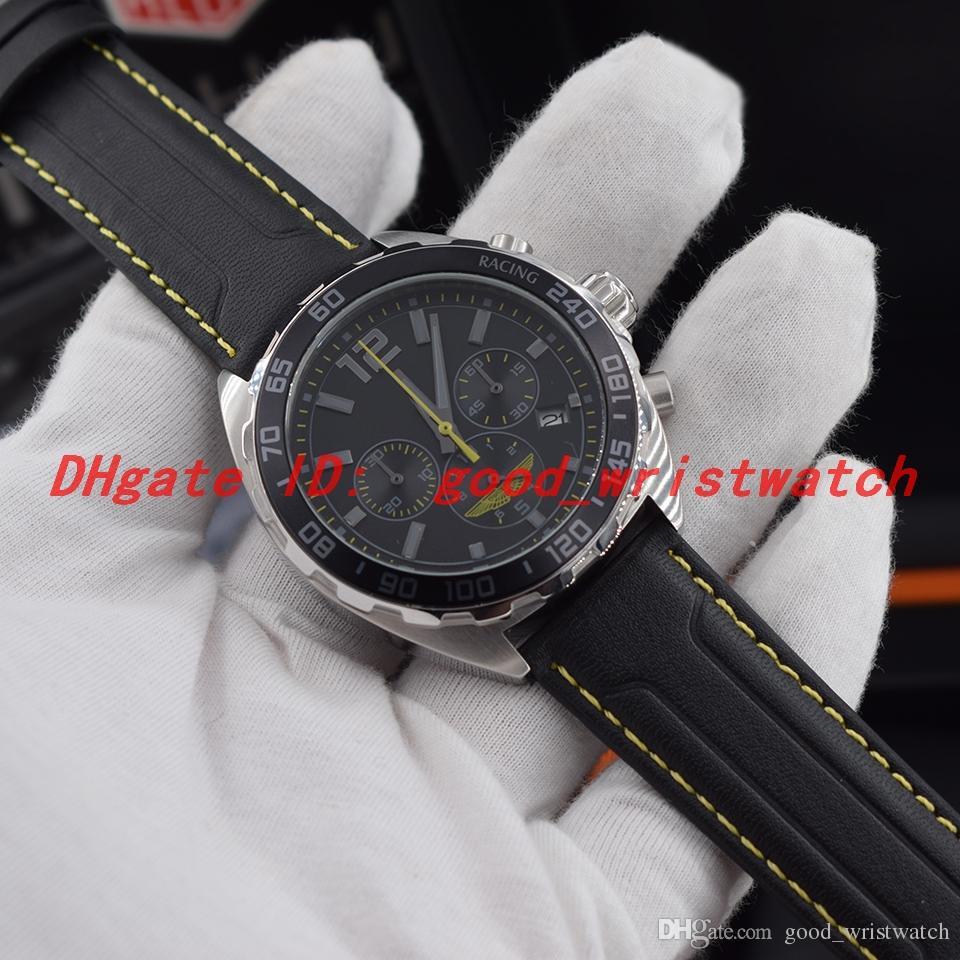 New sport CAZ101P.FC8245 ASTON MARTIN RACING watch VK quartz movement Chronograph Steel case black dial leather strap Man wristwatch 43MM