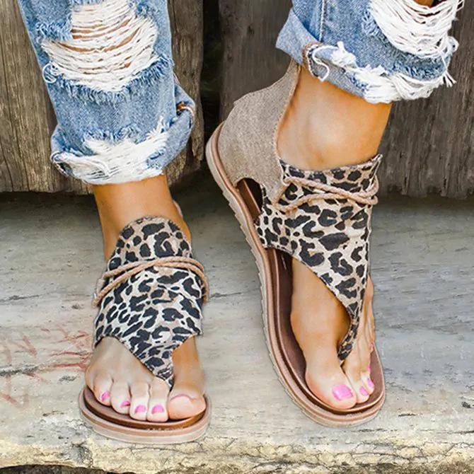 Las mujeres del verano planos ocasionales cómodo punta abierta de la serpiente leopardo sandalias de Roma de la correa de cuero de la PU de la correa del cierre relámpago zapatos femenino de la talla