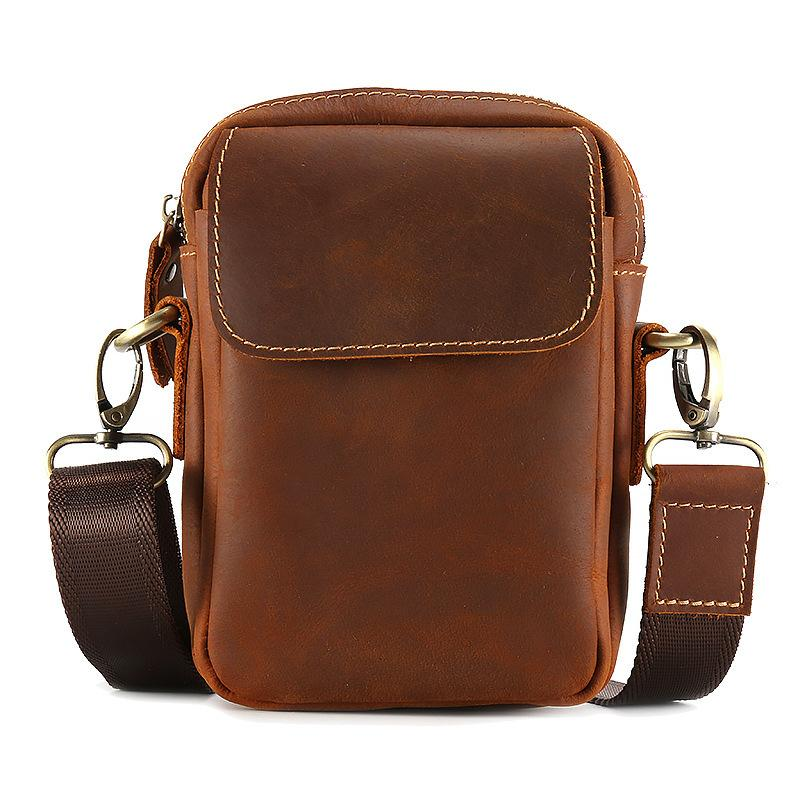 Vintage bolsas de mensajero de los hombres bolso de cuero genuino para el hombre de negocios casual masculino de Crossbody del pequeño de hombro de cuero para hombre