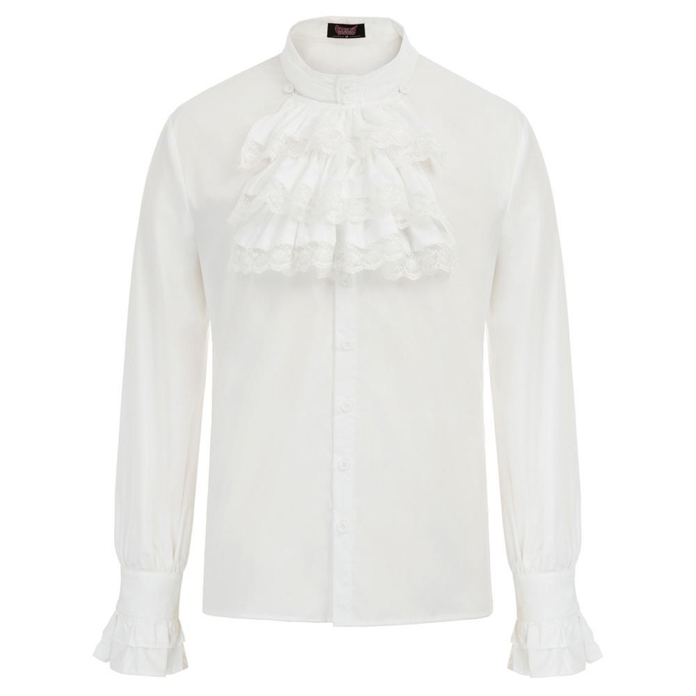 Осень мужская готический стимпанк с длинным рукавом рубашки партии свадьба ретро классический сплошной стенд воротник жабо украшенные рубашки топы блузка Y200408