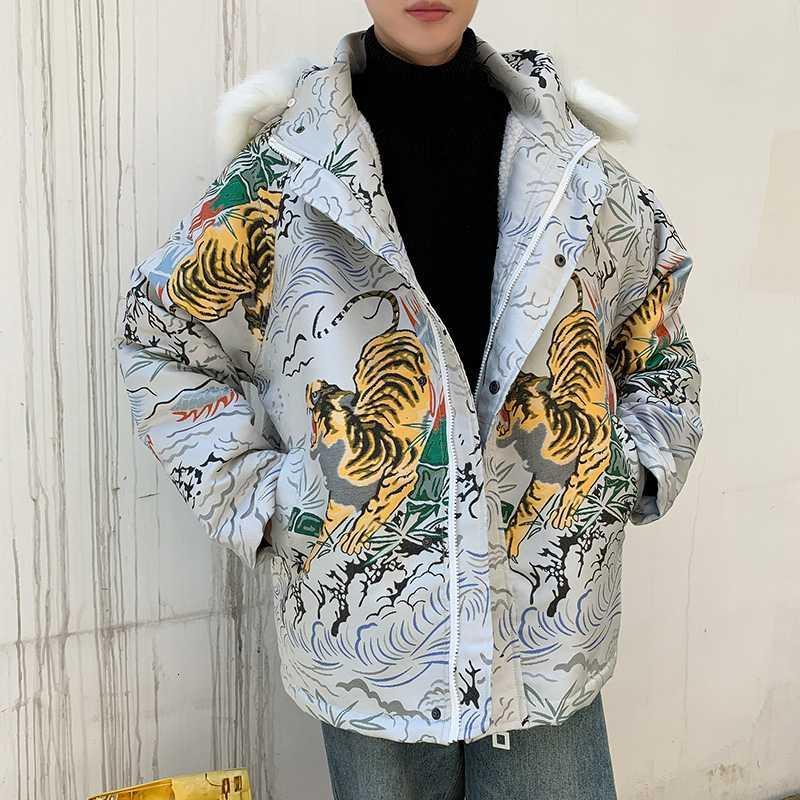 Kürk Yaka Gevşek Bombacı Streetwear Hip Hop Pilot Coat Tiger Desen Kalınlaşmak Kadife Kalın Sıcak jakar Ceket Erkekler Wear