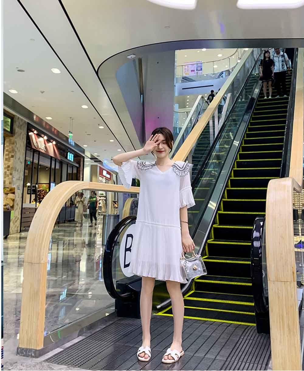 nuevo vestido de la gasa de la falda femenina de Corea del dulce y pequeña falda de hadas blanco del verano 2019