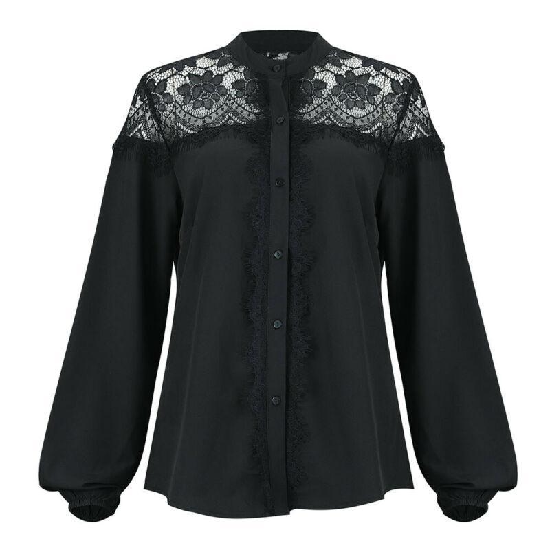 Nuova manica lunga della cavità del merletto parti superiori della camicia Crew nero del collo tunica camicetta