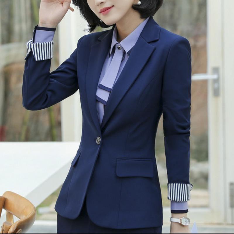 Women Blazer 2 Piece Set Office Long Sleeve Crop Coat Blazer Pencil Pants Suits