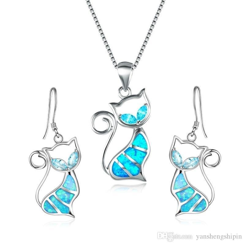 925 gümüş kolye kolye Küpe Kadınlar Moda Glamour Düğün Hayvan Takı Seti Dolgulu Sevimli Nefis Kitten Mavi Ateş Opal