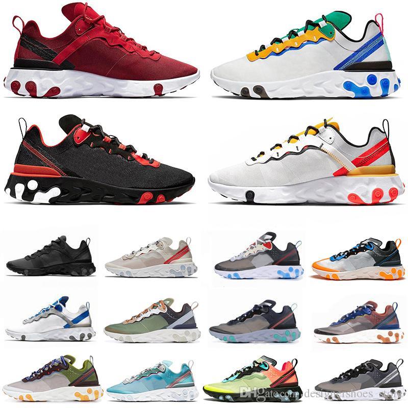 Avec Script Boîte React élément 55 UNDERCOVER X 87 chaussures de course pour homme femme 87s 55s sport triple formateurs noir blanc chaussures de sport
