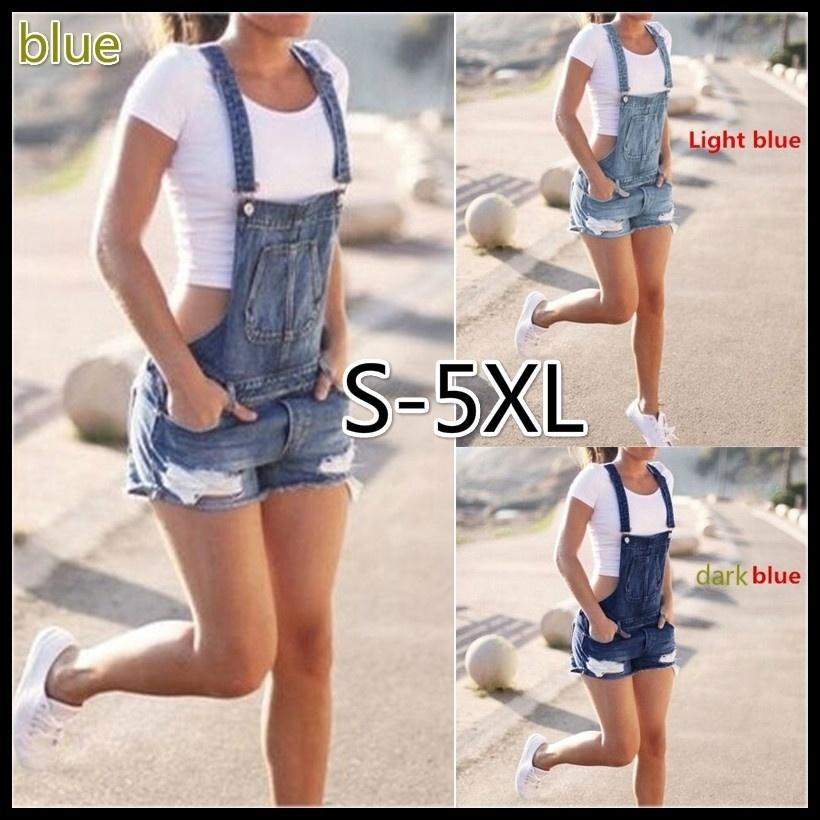 Overalls Jeans Shorts For Women Overol Mameluco Jeans Shorts Rasgados Para Mujer