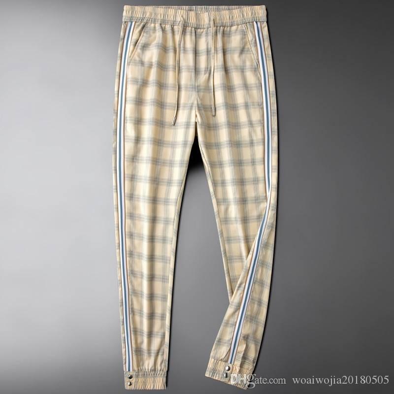 20190929 Recreational Plaid trousers men's body-building fashion