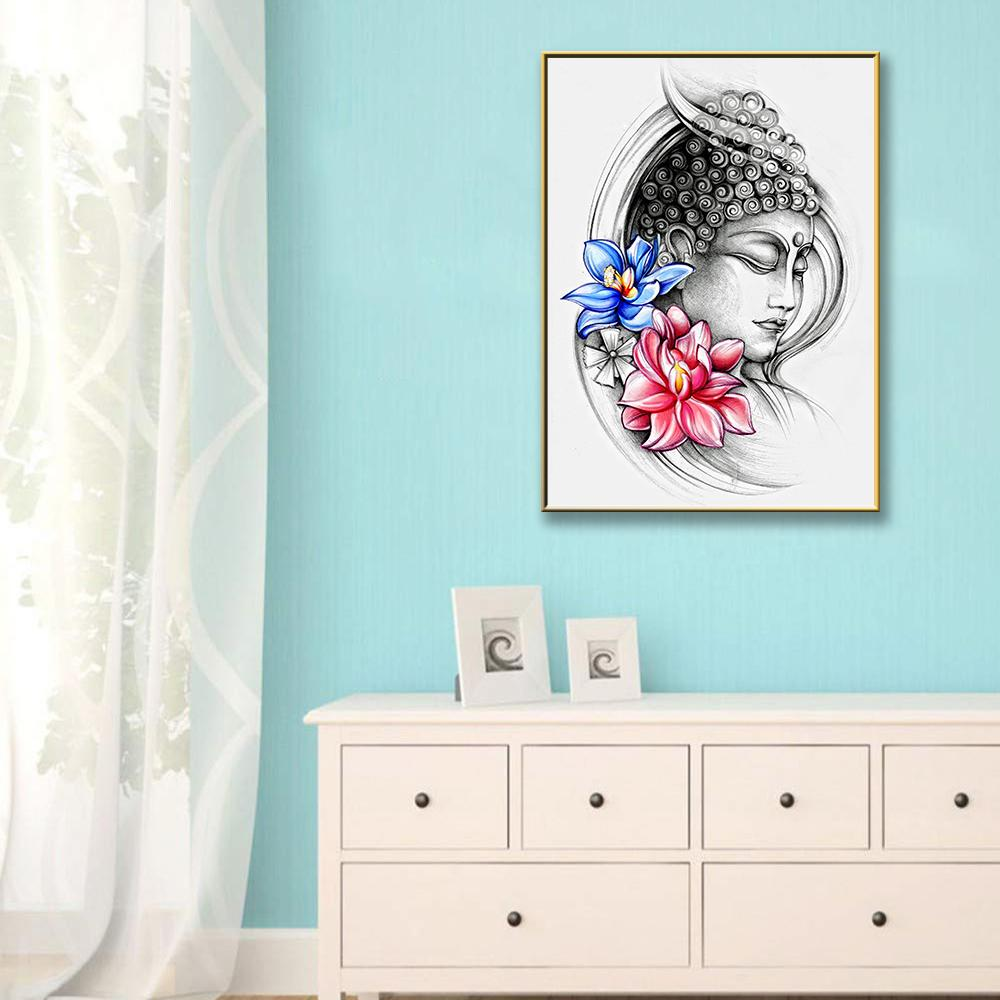 Cute Buddha Painting With Flowers Art Nordic Posters And Prints Wall Pictures Wall Pictures For Bathroom Poster Decoration