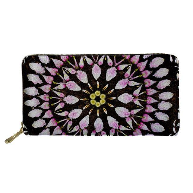 Diseñador-Coloranimal diseño de lujo larga de las señoras carteras de cuero monedero de la PU de la cremallera de la mandala de la flor de impresión mejor regalo de la vendimia bolsa de embrague bolsa de asas