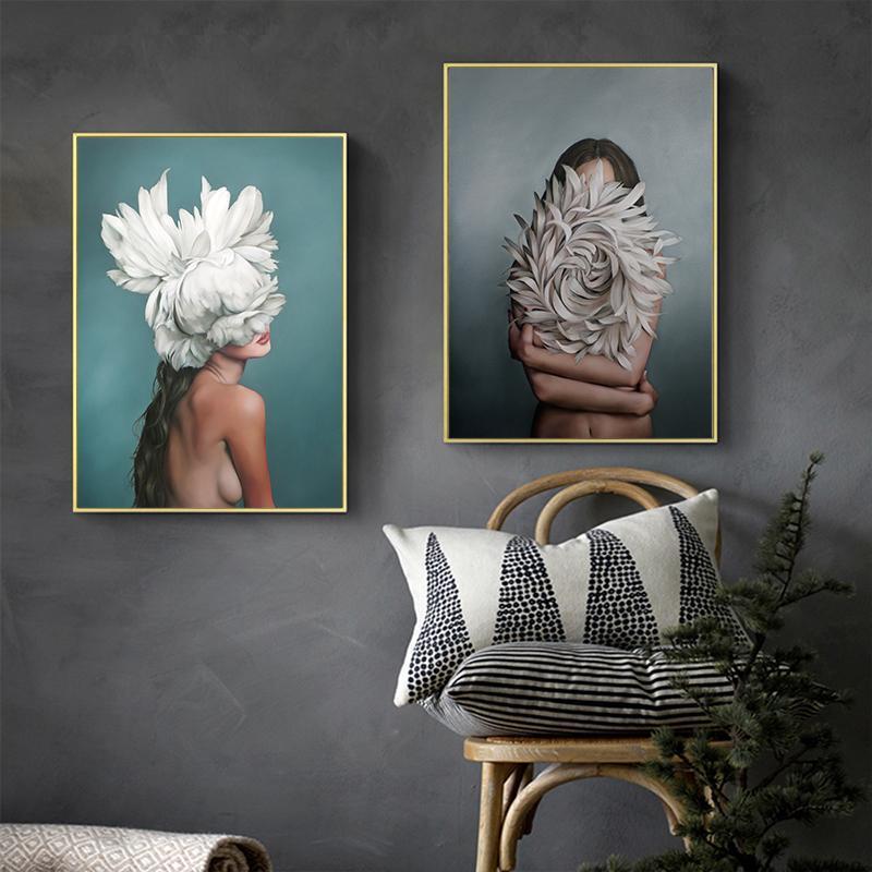 Extracto de la muchacha de flor de Avatar lienzo Pintura Pintura de pared del arte del cartel de impresión pared del dormitorio de la sala de estar moderna decoración del hogar