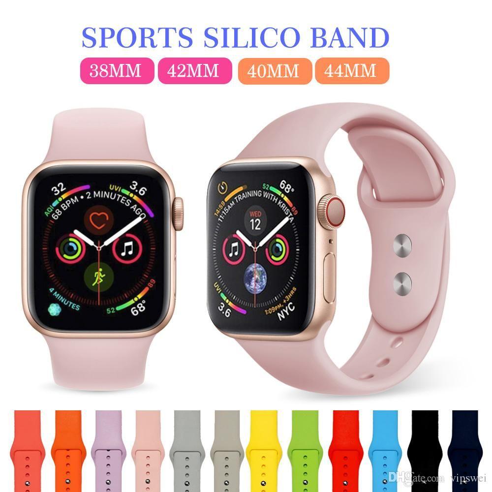 Akıllı İzle Bantları Yedek Katı Renk Yumuşak Silikon Bilek Bilezik Spor Band Askı Apple Watch Serisi için Tüm Evrensel Aksesuarlar