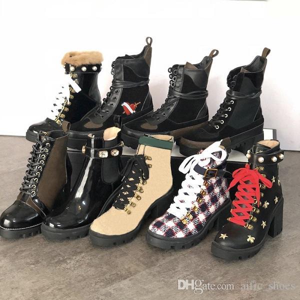 Genuine Leather caviglia delle donne Booties ricamato Laureate Piattaforma Martin stivali tacco grosso Traccia stellare Stivali inverno Boot