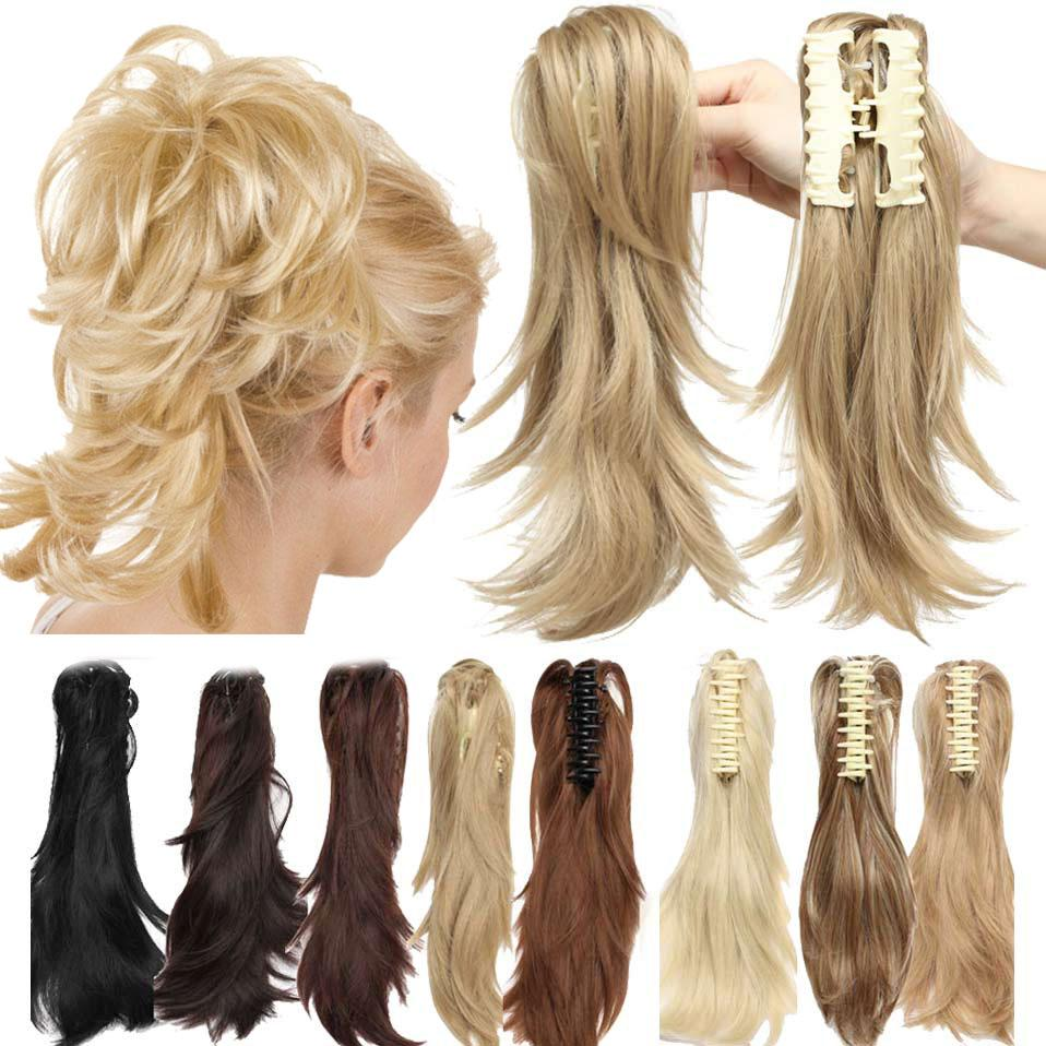 """S-noilite 12"""" DIY Claw Clip Ponytail Pony Tail Clips in Hair Extensions Curly Ponytail Women Synthetic Hair Bun Amazing Shape"""
