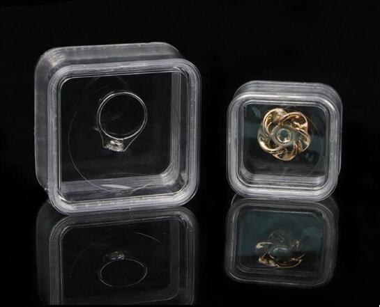 40 * 40mm Transparente schwimmende Vitrine Ohrring Edelsteine Ring Schmucksuspension Verpackungsbox Pet Membran Stativhalter