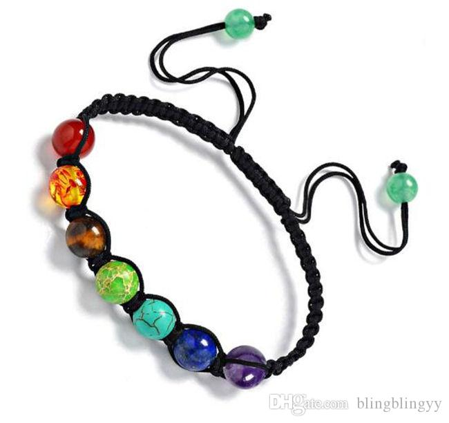blingbling pedra natural pulseiras tecido do arco-íris colorido de ioga energia contas embalagens pessoal Amazon venda quente! atacado jóias