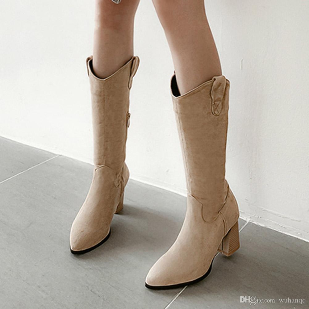 Neu Plus Größe 32-48 Großhandel Herde Hinzufügen Pelz Winter Warme Stiefel Frauen Schuhe Frau Zip Up Chunky Heels Mittlere Waden Stiefel