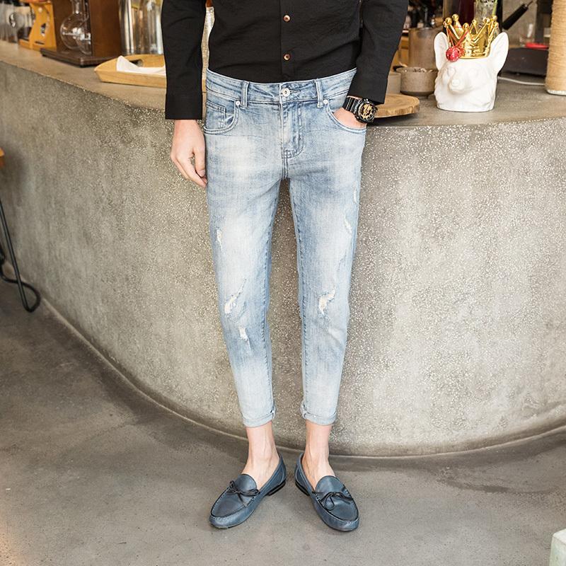 Uzun Kalem Pantolon Delik Yırtık Erkek Moda 2019 Bahar Kot Ince Erkekler Için Ince Skinny Jeans Hiphop Pantolon Giysi Hombre