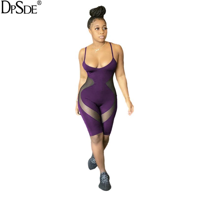 DPSDE 2020 yazında yeni kadın moda seksi kulüp parti tarzı tulum kolsuz acısını kemer saf renk kısa pantolon tulum