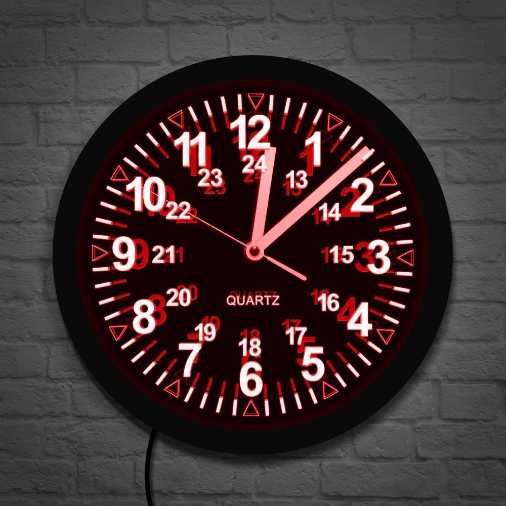 نمط عسكري ساعة الحائط ريترو مع LED الخلفية 24 ساعة توقيت العرض الزولو الوقت LED النيون ساعة الحائط الجيش البحرية البحرية هدية T200601