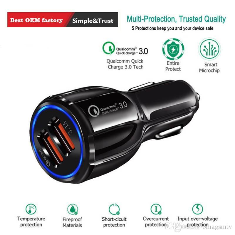 Chargeur de voiture USB Charge rapide 3.0 chargeur de téléphone portable 2 Port USB Chargeur rapide voiture pour iPhone Samsung Huawei Tablet Car Chargeur