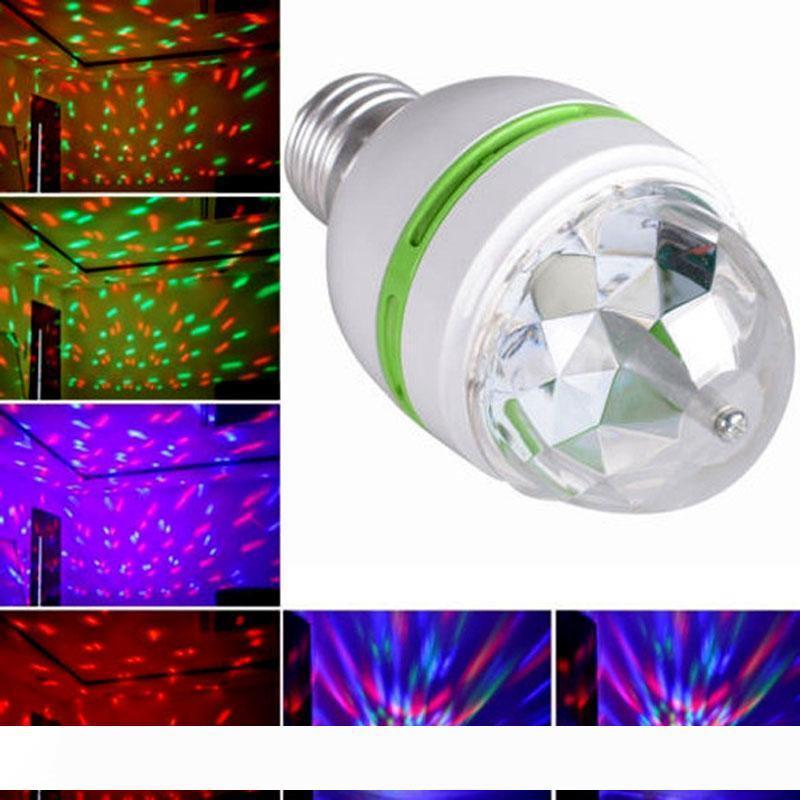 50шт Retail 3W E27 RGB освещение Полноцветный светодиодный кристалл свет этапа Авто Вращающийся Stage Эффект DJ лампы мини Этап лампа