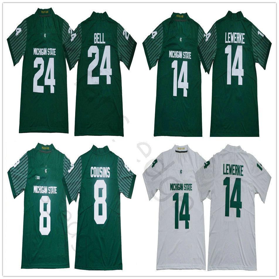 2018 년 2019 NCAA 미시간 주립 스파르타 # 14 브라이언 Lewerke 저지 그린 화이트 홈 원정 8 커크 사촌 (24) LeVeon 벨 대학 축구 유니폼
