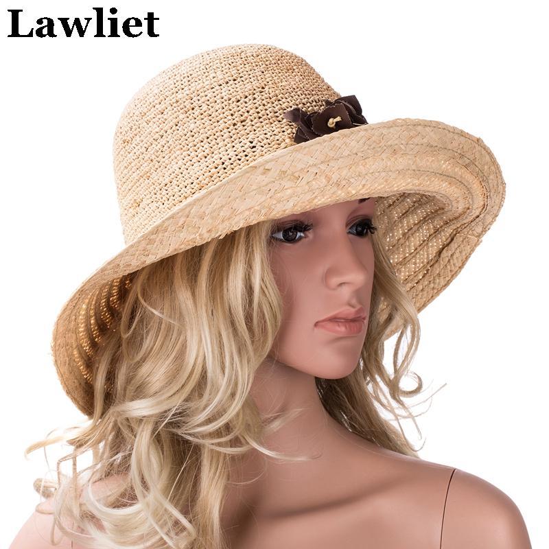 Sombrero de paja de rafia Sombreros de verano para mujeres Sombrero de ala ancha para mujer Sombreros de playa con diseño floral A348