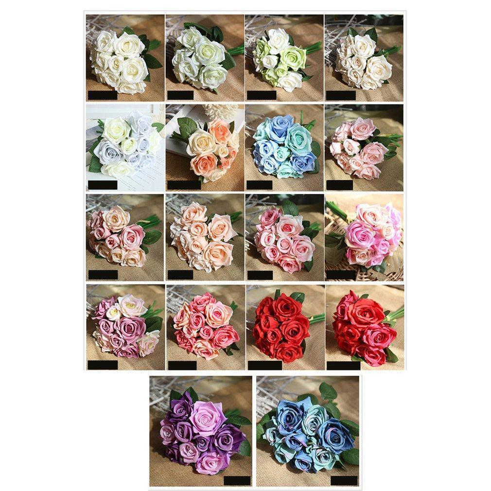 Künstliche Blumen Blumenstrauß Gefälschte Rosen-Silk Plastikblumen-Ornamente Wedding Bouquet für Hausgarten-Partei-Hochzeit Dekoration