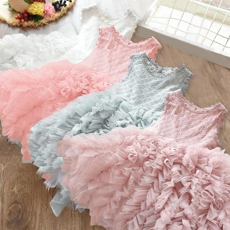 2020 Abbigliamento Fiore merletto di estate della ragazza del bambino Abiti bambini di sfera delle ragazze dei bambini Fluffy torta Smash abito da principessa partito