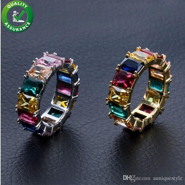 Hip Hop Mens Diamond Rings Luxury Designer Jewelry Iced Out Colorful Cubic Zircon Finger Ring Gold Silver Micro Pave CZ Classic Men's Punk