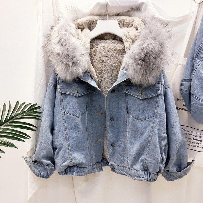2019 velvet thick denim jacket female winter big faux fur collar Korea denim coat female student short coat T200301