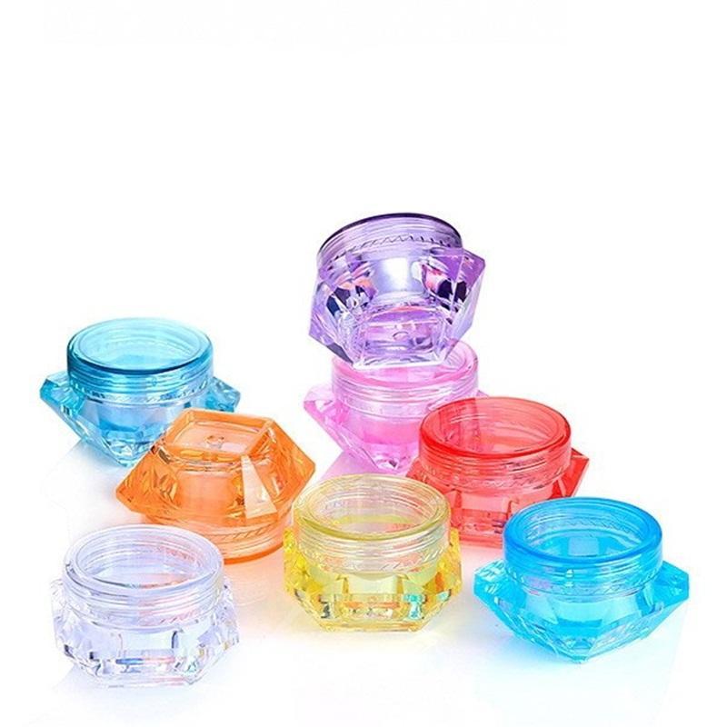 السفر التجميل إفراغ الجرار البلاستيك الماس شكل إعادة الملء كريم الوجه حزمة فرعية صندوق ملون عينة كيس حالة التخزين الجيل الثالث 3G 5G 0 18zm E19