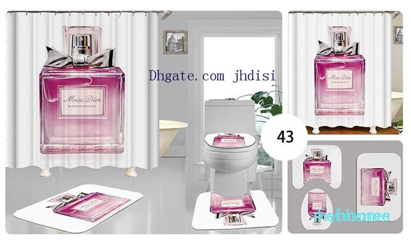 Parfum rideau d'impression numérique 3D Bouteille Motif Tapis de bain / WC Pad Set Home Décor anti-dérapant toilettes Tapis rideau de douche imperméable à l'eau