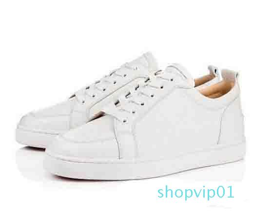 Zapatos [Caja original] El mejor regalo de la marca inferior rojo de las zapatillas de deporte de los hombres bajos Rantulow junior plana Hombres Geunine cuero blanco Negro Trainer al aire libre
